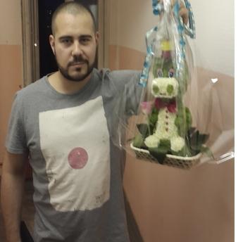Бегемот из живых цветов + Подарки. Модный подарок для мужчины и женщины.