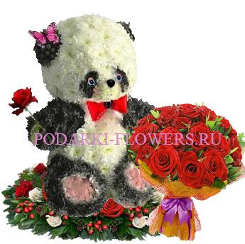 Панда из цветов с букетом роз - Супер предложение!