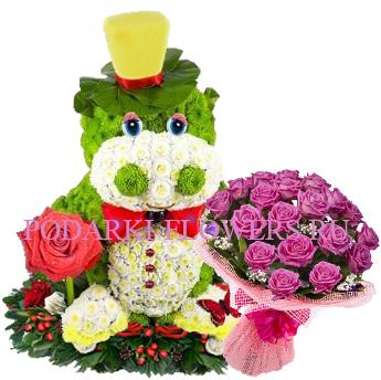 Бегемот из цветов с букетом роз - Супер предложение!