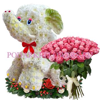 Слон из цветов с букетом роз - Супер предложение!
