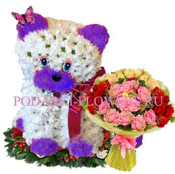 Кошка из цветов с букетом роз - Супер предложение!