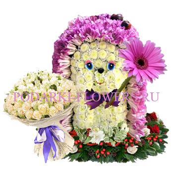 Ежик из цветов с букетом роз - Супер предложение!