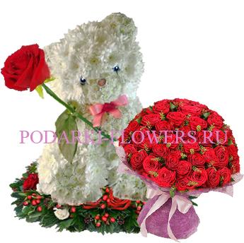 Мишка из цветов с букетом роз - Супер предложение!