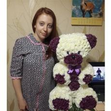 Большой мишка из живых цветов + Подарки. Идеальный подарок на годовщину свадьбы.