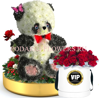 Панда из цветов на золотом подносе + Розы в шляпной коробке
