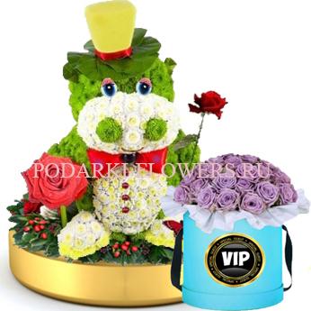 Бегемот из цветов на золотом подносе + Розы в шляпной коробке
