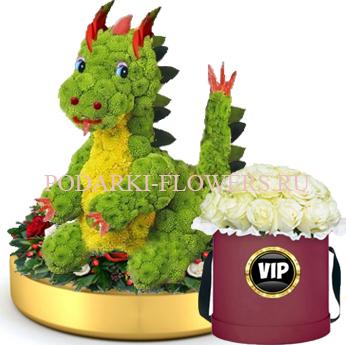 Дракон из цветов на золотом подносе + Розы в шляпной коробке