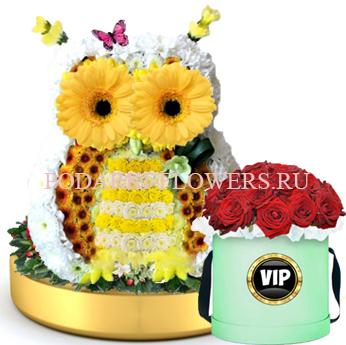 Сова из цветов на золотом подносе + Розы в шляпной коробке