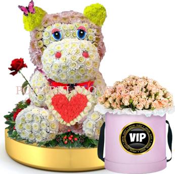 Бегемот из цветов с сердцем на золотом подносе + Розы в шляпной коробке