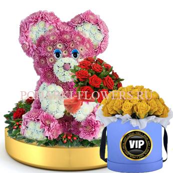Мишка из цветов с букетом роз на золотом подносе + Розы в шляпной коробке