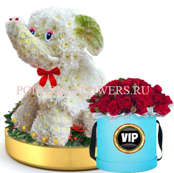 Слон из цветов на золотом подносе + Розы в шляпной коробке