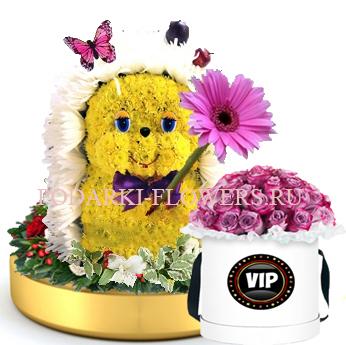 Ежик из цветов на золотом подносе + Розы в шляпной коробке