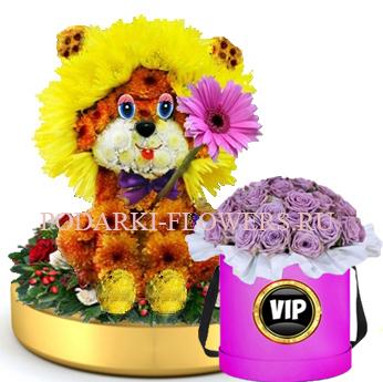 Лев из цветов на золотом подносе + Розы в шляпной коробке