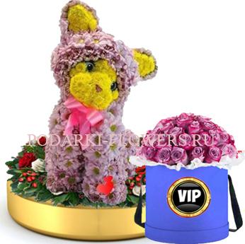 Кошка из цветов на золотом подносе + Розы в шляпной коробке