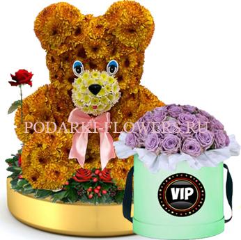 Мишка из цветов на золотом подносе + Розы в шляпной коробке