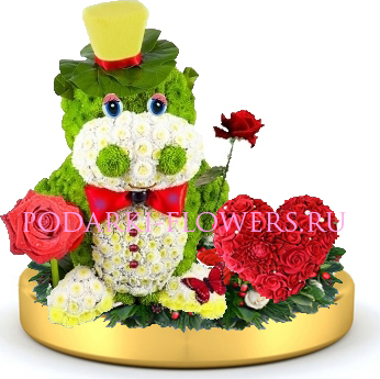 Бегемот из цветов + сердце из роз на золотом подносе