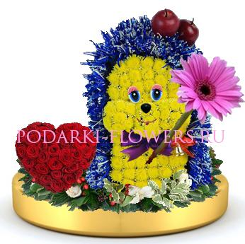 Ежик из цветов + сердце из роз на золотом подносе