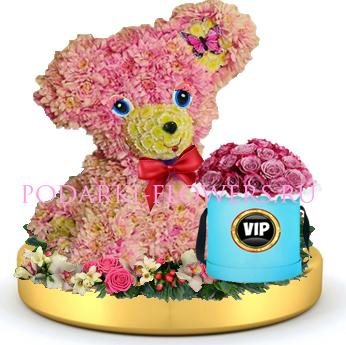Собачка из цветов + розы в шляпной коробке на золотом подносе