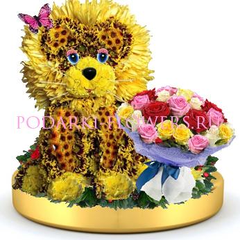 Лев из цветов + букет цветов на золотом подносе