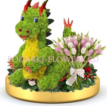 Дракон из цветов + букет цветов на золотом подносе
