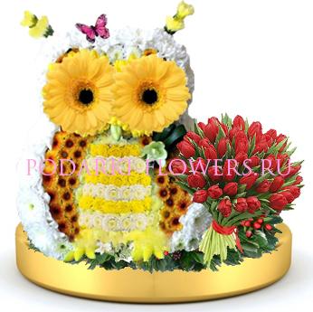 Сова из цветов + букет цветов на золотом подносе