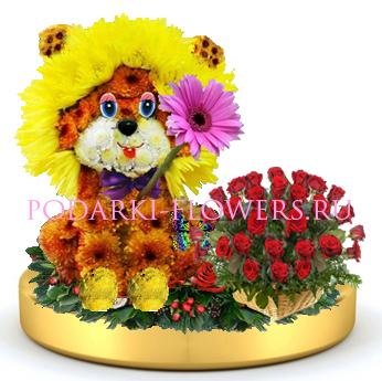 Лев из цветов + корзинка цветов на золотом подносе