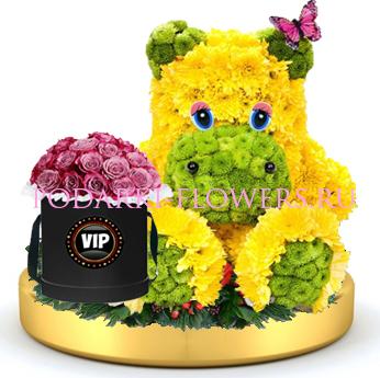 Бегемот из цветов + розы в шляпной коробке на золотом подносе