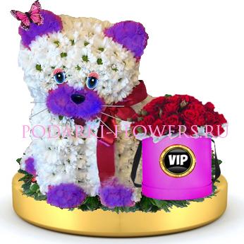 Кошка из цветов + розы в шляпной коробке на золотом подносе