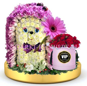 Ежик из цветов + розы в шляпной коробке на золотом подносе