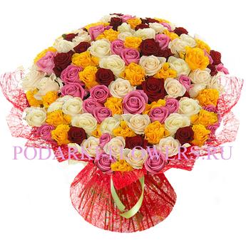 Букет «Чистая красота» - 101 роза (микс)
