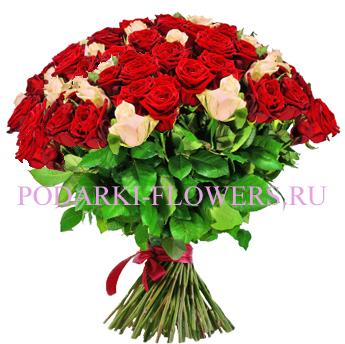 Букет «Цветущее сердце» - 101 роза (микс)