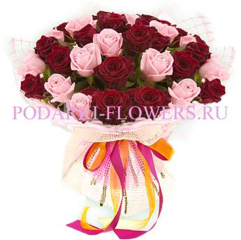 Букет роз «Алые паруса» 51 шт./ 101 шт.