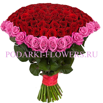 Букет «Радость» - 101 роза (микс)