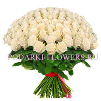 Букет «Взаимность» - 101 белая роза