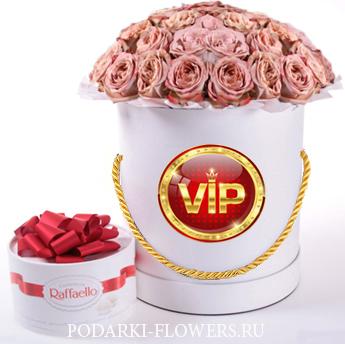"""Розы капучино """"Cappucino"""". 29-61 шт. Цветы в шляпной коробке"""