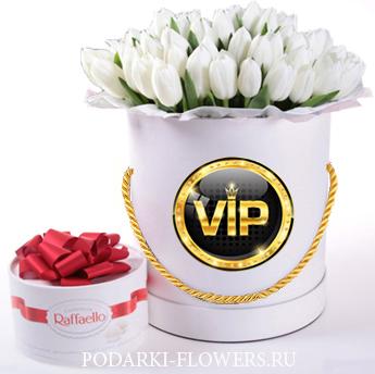 Тюльпаны белые. 29-101 шт. Цветы в шляпной коробке