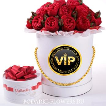 """Пионовидные розы """"Red Piano"""". 9-31 шт. Цветы в шляпной коробке"""