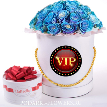 """Розы-Хамелеоны """"Blue"""". 29-61 шт. Цветы в шляпной коробке"""
