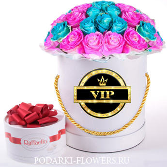 """Розы-Хамелеоны """"Pink-Blue"""". 29-61 шт. Цветы в шляпной коробке"""