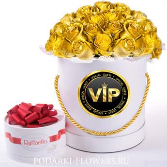 """Золотые розы-Хамелеоны """"Gold"""". 29-61 шт. Цветы в шляпной коробке"""