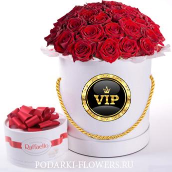 Красные розы. 29-61 шт. Цветы в шляпной коробке