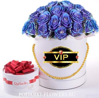 "Розы-Хамелеоны ""VIP Blue"". 29-61 шт. Цветы в шляпной коробке"