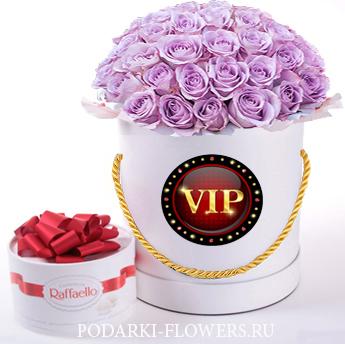 """Розы сиреневые """"VIP"""". 29-61 шт. Цветы в шляпной коробке"""