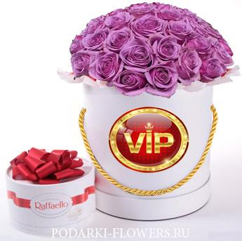 """Розы """"VIP"""". 29-61 шт. Цветы в шляпной коробке."""
