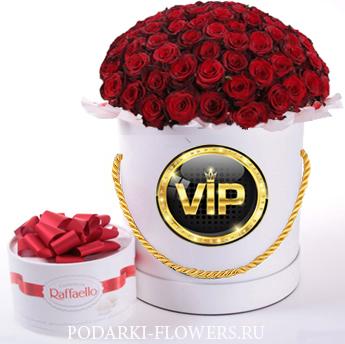 Красные розы. 39-61 шт. Цветы в шляпной коробке