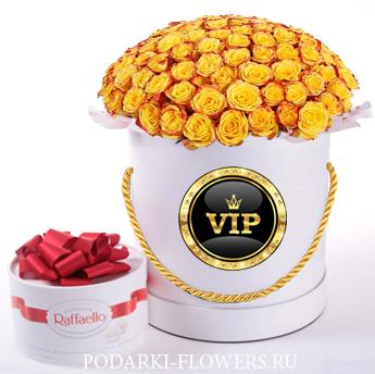 Розы Хай Еллоу. 39-61 шт. Цветы в шляпной коробке