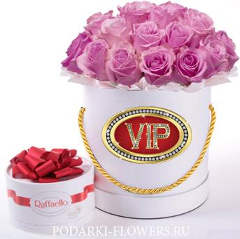Розовые розы. 29-61 шт. Цветы в шляпной коробке