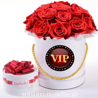 """Красные розы """"Восторг"""". 29-61 шт. Цветы в шляпной коробке"""