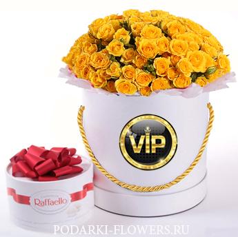 Кустовые розы жёлтые. 29-61 шт. Цветы в шляпной коробке