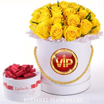 Жёлтые розы. 29-61 шт. Цветы в шляпной коробке